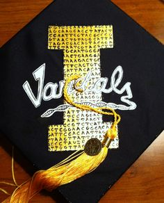 My biology / DNA / University of Idaho themed graduation cap ( aka mortar board). Vandal pride!