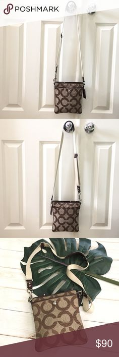 """Coach signature OP art crossbody bag! Coach signature OP art crossbody bag! This is a lovely and convenient taupe/brown canvas and leather crossbody bag. Has a leather shoulder piece for added comfort while carrying. Clean inside and out strap has a small amount of wear. Pictured. Preloved in excellent condition. Has two outside pockets. Bag itself zips. Strap drop is 20"""". Adjustable to 22"""". 8.5""""L X 7""""L X 5""""W. Coach Bags Crossbody Bags"""