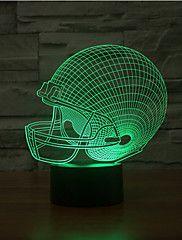 rögbi kalap érintés tompítása 3D LED éjszakai fény 7colorful dekoráció hangulat lámpa újdonság világítás karácsonyi fény