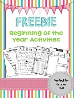 FREEBIE: Beginning of the Year Activities. grades 4-8. bingo, goals, conversation, getting to know