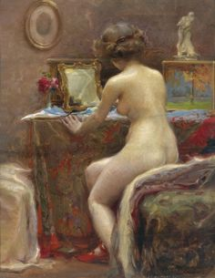 Before the Toilet Mirror :  Vlaho Bukovac  : circa 1914 : Croatian Nude Painting #CroatianPainting