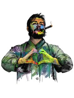 This project pays tribute to fallen icons. This was also an exercise in developi… - Painting Techniques Che Guevara Photos, Che Quevara, Revolution Poster, Beard Art, Smoke Wallpaper, Ernesto Che, Frida Art, Cute Love Images, Galaxy Pictures