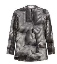 Joseph Ribkoff | CHEVRON PRINT | BLACK + SILVER asymmetric top.