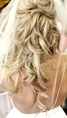 Bride's half up long blonde curls wedding hair ideas Toni Kami Wedding Hairstyles ♥❸