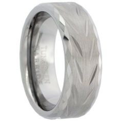 Tungsten Carbide 8 mm Flat Wedding Band Ring Faceted Edges Diamond-cut Chevron Pattern Matte Finish, sizes 7 to 14 Sabrina Silver. $19.95