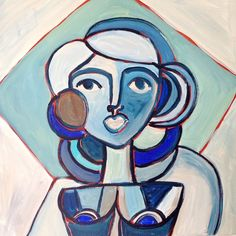 Original acrylic painting on canvas in blues - portrait of woman - modern…