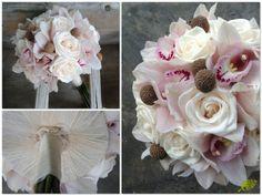 Bouquet de novia con orquídeas, rosa vendela y craspedia en tono crudo y rosa muy suave. Mayula Flores