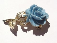 Blue Rose Flower Brooch Pin by TooSweetMagnolias on Etsy, $14.00