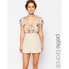 Maya Petite Romper With Embellished Top And Plunge Neck (7095 RSD) ❤ liked on Polyvore featuring jumpsuits, rompers, cream, petite, plunge romper, floral print romper, plunge neck romper, white floral romper and white rompers