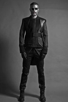 """Action Attire for Cade Skywalker ~ Sith Version Jifan Park, Fall 2014 "" Dark Fashion, Gothic Fashion, Mens Fashion, Fashion Outfits, Cyberpunk Mode, Cyberpunk Fashion, Dystopian Fashion, Future Fashion, Character Outfits"