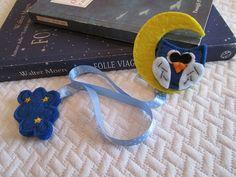 Ribbon bookmark - Felt bookmark - Owl bookmark - Teacher's gift - Book lover's gift - Segnalibro in feltro con Gufo sulla luna nastro di TinyFeltHeart