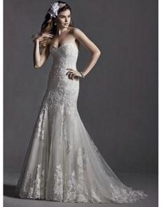 Meerjungfrau Luxuriöse Elegante Brautkleider aus Softnetz mit Applikation
