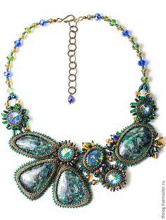 """Купить Колье """"Осенний Вечер"""" - Вышивка бисером, натуральные камни, swarovski crystal, swarovski кристаллы"""