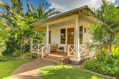 Complete privacy abounds with this Kukuiula Vacation rental. With ocean views, this 3 bed is designed to highlight outdoor/indoor style of living. Small Beach Houses, Dream Beach Houses, Plantation Style Homes, Hawaiian Homes, Farmhouse Landscaping, Bungalow Homes, Cottage Exterior, Beach Shack, Beach Cottages