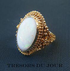 Rare Antique ART NOUVEAU OPAL and 18kt gold ring.   French c. 1880; by TresorsDuJour, $2200.00