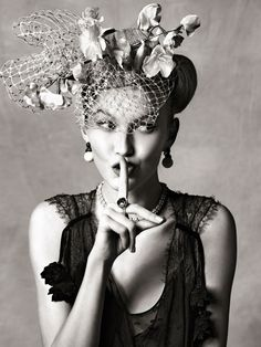Silk dress,above, byChristian Dior, silk flower headpiece byCozmo Jenks, necklace bySusan Caplan Vintage Collection, ring byPiaget. #passion4hats