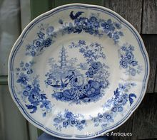 Antique Blue Transfer Ware Plate    Pagoda Pattern    Enoch Woods & Sons    A Blue Transferware Pattern ~ A Center Scene Design And A Wide Floral Border On A Gently Scalloped Blank    The back mark is shown. This mark dates it to c. early 1800's