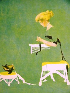 """Coles Phillips FADEAWAY GIRL SEWING """"HOME TIES"""" 1911 Antique Art Matted"""