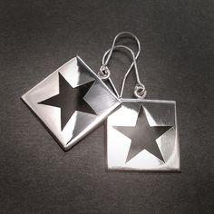 BLACK STAR SILVER Square Dangle Earrings