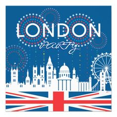 London Party Invitation  Modern London Party Invitation with a graphic London skyline. Original illustration by pj_design.