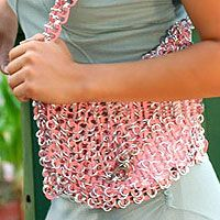 Soda pop-top shoulder bag, 'Shimmery Morn'