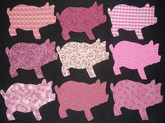 9 Easy to Use Pink Pig Fabric Appliques, Just by MarsyesQuiltShop