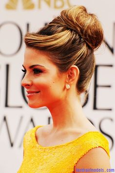 376eef02d926 Maria Menounos s bun in style  A halo of radiance! Casual Hairstyles