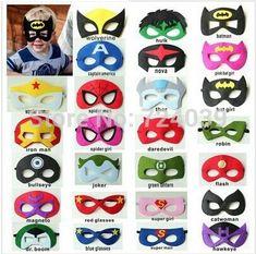 Feltro-supereroe-maschera-superman-batman-spiderman-hulk-thor-ironman-flash-capitan-america-wolverine-halloween-costumi-del.jpg (406×402)