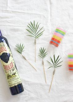 A Fabulous Fete: palm frond cocktail stirrers // diy