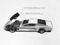 An early design sketch for the Mach I, which shows a decidedly Italian influence.