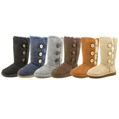 Ugg Australia Bailey Button Triplet Women  Round Toe Suede Black Winter Boot #UggAustralia #BaileyButtonTriplet