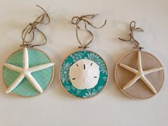 Seashell+Fabric+Hoops+Seascape+EditionLot+of+3++by+KOCapeDesigns,+$15.00