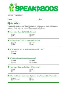 Quiz Whiz: Speakaboos Stories | Speakaboos #Worksheets #quiz #education #kids