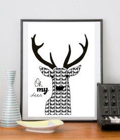 Oh My Deer stilren design med ett kul budskap. Dalahäst designs.