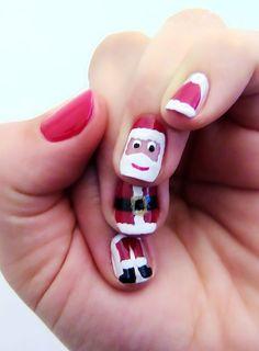 xmas nail art - santa