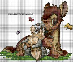 Beaded Cross Stitch, Simple Cross Stitch, Cross Stitch Charts, Cross Stitch Embroidery, Bambi, Disney Cross Stitch Patterns, Cross Stitch Designs, Kids Patterns, Canvas Patterns