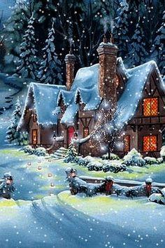 ideas wallpaper winter christmas navidad for 2019 Christmas Scenes, Christmas Past, Christmas Images, Winter Christmas, Blue Christmas, Winter Snow, Animated Christmas Pictures, Gif Noel, Winter Scenery