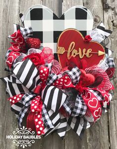 Excited to share this item from my shop: Valentines Wreath, Rustic Valentines Wreath, Black and White Plaid Valentines, Love Wreath, Valentines Day Decor day wreath rustic Your place to buy and sell all things handmade Diy Valentines Day Wreath, Valentines Day Decorations, Valentine Day Crafts, Love Valentines, Holiday Crafts, Holiday Decorations, Valentines Day Decor Rustic, Sant Patrick, Love Holidays