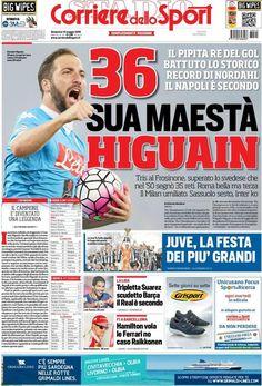 Rassegna stampa italiana: clamoroso Higuain - http://www.maidirecalcio.com/2016/05/15/rassegna-stampa-italia-higuain.html