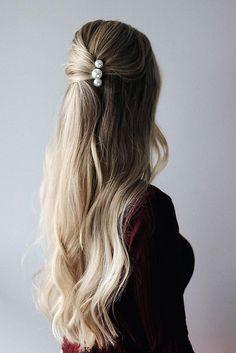 Haarspange Haarclip Oldschool Pearls Gold Hair Accessoires Perlen groß TREND NEU