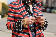 Polka dots and stripes work well together as long as they are similar in color!