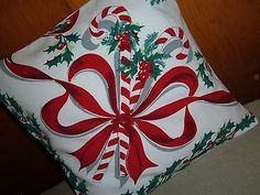 VINTAGE-CHRISTMAS-PILLOW-SHAM-CANDY-CANE-RED-RIBBONS