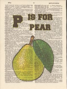 P is for Pear Vintage Upcycled Book Page by StorybookArtPrints