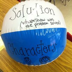 I LOVE this idea! I can use beach balls for all kinds of literature elements. plot, character, setting, theme, etc. Love this idea :) Story Elements Activities, Plot Activities, Comprehension Activities, Reading Activities, Reading Skills, Teaching Reading, Reading Comprehension, Reading Response, Teaching Plot