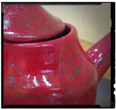 ceramic tea pot red