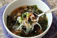 I've made this with chicken stock instead of water.  I LOVED it!  To make it detox friendly, use kelp noodles instead of rice noodles.  So good and way less calories.  Asian Soup Unrecipe
