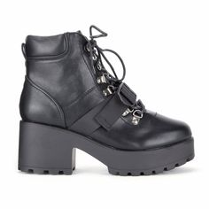 ad0832a25e8 ... White Lace Black Chunky Platform Biker Boots. See more. Black Chunky  Platform Ski Hook Strap Boots Block Heel Ankle Boots