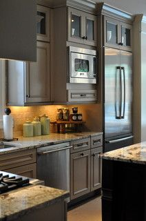 Wellborn Cabinet Inc. Gray stacked cabinets