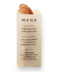 Bread Sleeve Menus - Take bread and butter from basic to brilliant with a few suprising spreads(and corresponding labels)and these vellum sleeves that work a second shift as elegant menus.