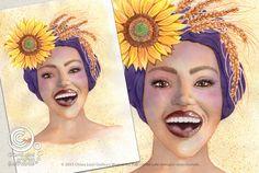 Mesi Illustrati: Luglio #visodidonna #ritratto #illustrazione #bellezza #fiori #frutti #foglie #mesidellanno